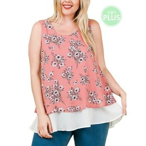 Pink Floral Tank Top with Ruffled White Bottom